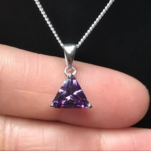 Jewelry - Sterling Silver Amethyst Trillion Necklace